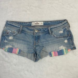 Hollister Denim Rainbow Distressed Cutoff Shorts